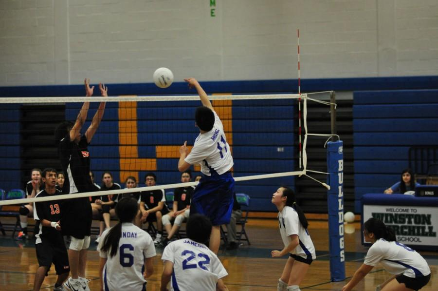 Senior Kenny Hwang spikes the ball during a scrimmage. The team is welcoming players who played boys volleyball last year.