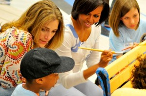Goslins works in schools in high poverty areas alongside First Lady Michelle Obama to increase funding for the arts.