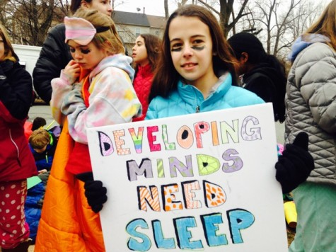 "A MCPS student participates in the ""Save our Sleep"" protest outside of the Carver Educational Services Center Feb. 9."