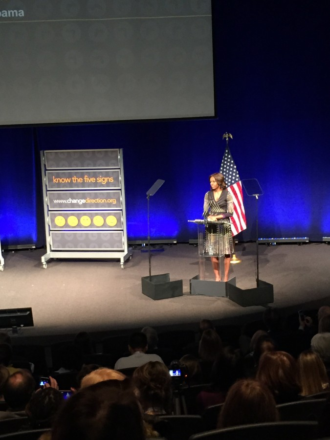 First Lady Michelle Obama speaks about mental health at the Newseum March 5.