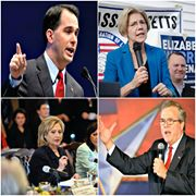 Jeb Bush, Hillary Clinton, Scott Walker and Elizabeth Warren.