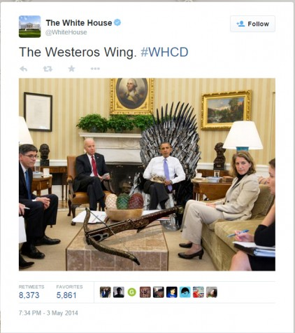 This Tweet, which references two popular shows, Game of Thrones and The West Wing, is an example of the humor the Obama administration uses.