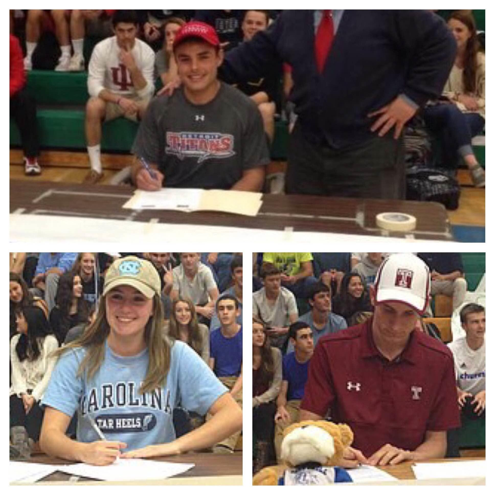 Current College athletes (Daniel Dibono, David Fitzgerald and Kali Becker) signed their binding commitments to play in college.