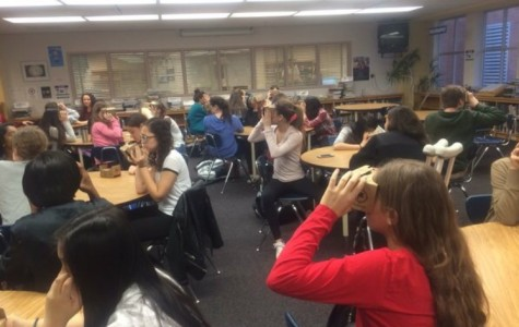 Students travel to virtual destinations by using Google Cardboard