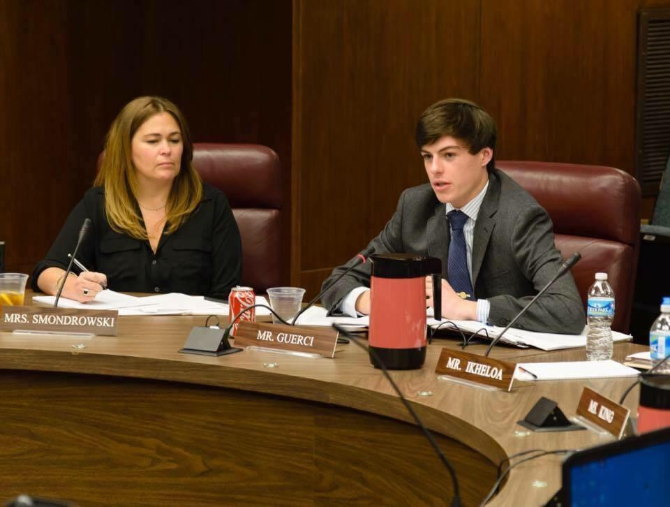 Eric Guerci attends a board meeting during his first term as SMOB this past year.