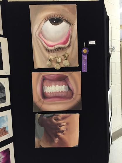 Senior Josie Scriven's painting of various parts of the body being stretched was awarded with the best artwork award.