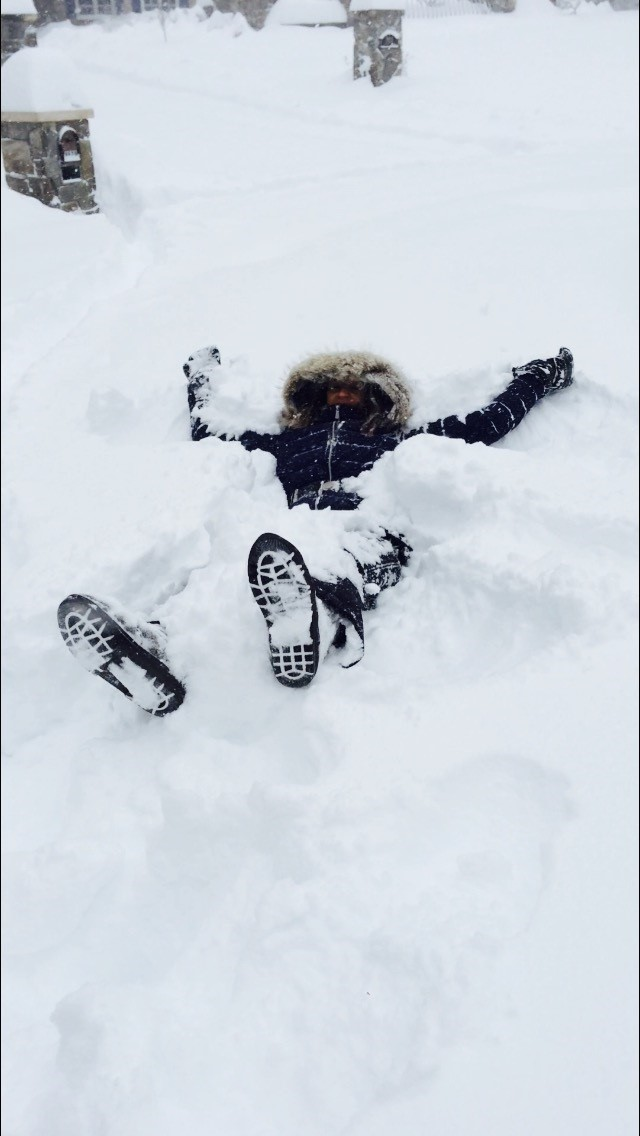 Sophomore Nina Aksentijevich enjoys the snow during January's blizzard.