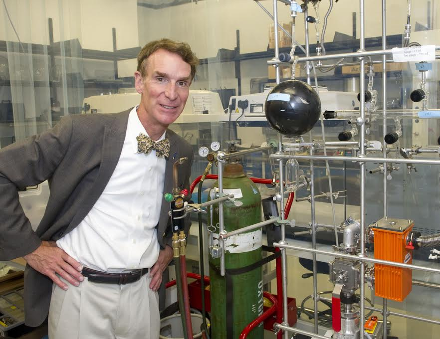 Bill Nye sports his trademark bowtie.