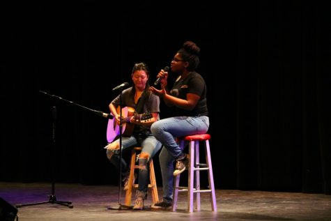 Juniors Calissa Park and Precious Melchizedek perform during CHS Got Talent Jan. 26.