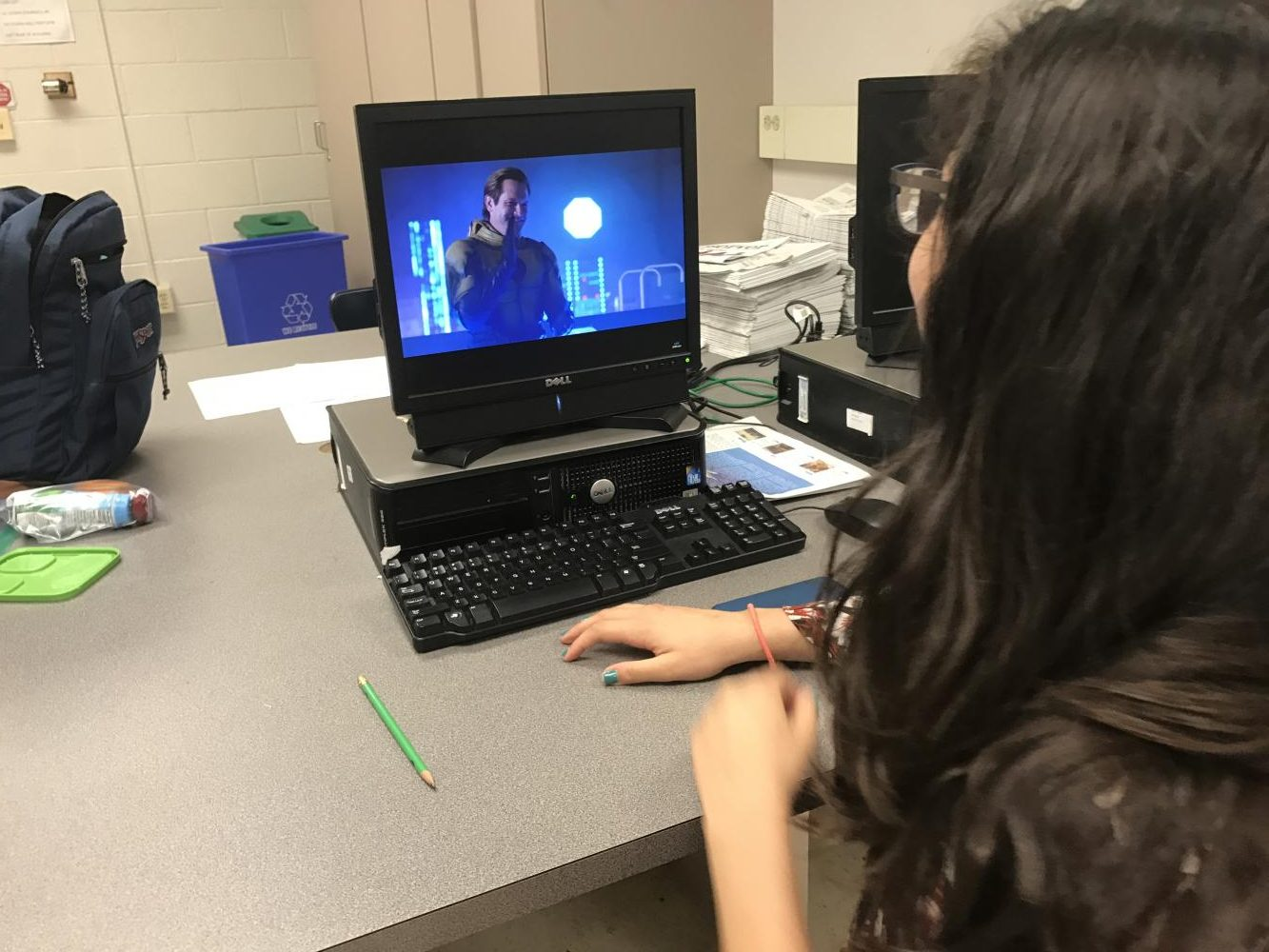 "This student is pictured watching  DC's ""Legends of Tomorrow."""