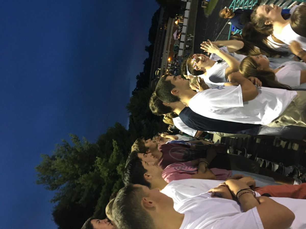 Students+cheering+on+CHS+at+the+football+game+against+Whitman+show+spirit+appropriately+in+%22white+out%22+clothing+theme.