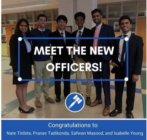 Newly elected officers Nate Tinbite, Safwan Masood, Pranav Tadikonda and SMOB elect Ananya Tadikonda  pose with past officers Michael Yin and former SMOB Matt Post.