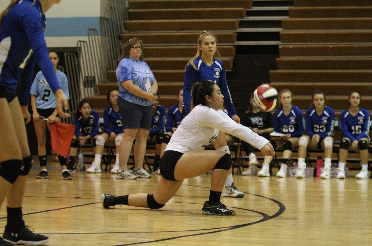 Junior Ashley Chen receives the ball and sets up a teammate for a spike.