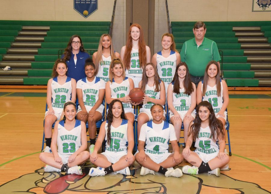 The+WCHS+varsity+girls+basketball+team+takes+a+photo+with+their+two+coaches.+The+team+is+led+by+co-captains+senior+Kamryn+Testa+and+junior+Brittani+Martin.