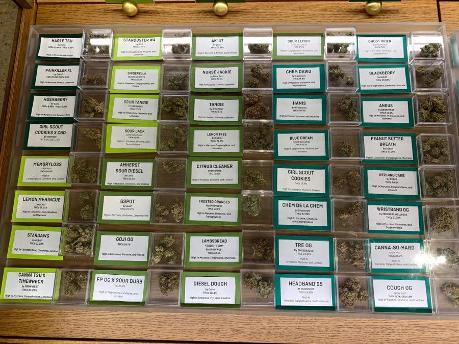 Liberty, a local medical cannabis dispensary in Rockville, displays samples of strains in their store. Each strain has a different purpose, whether medical or recreational.