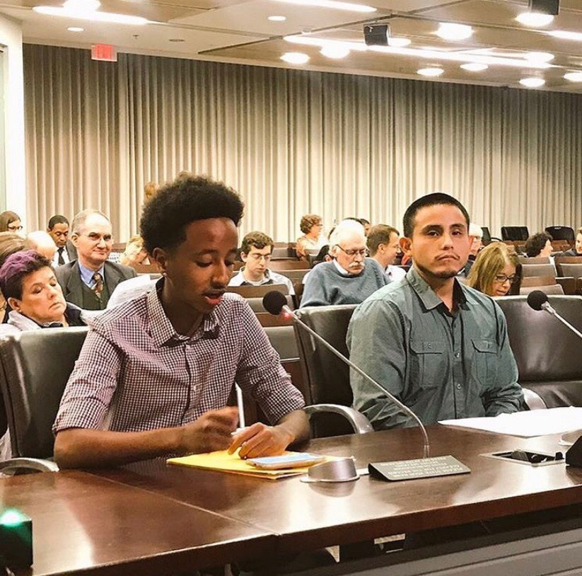 Nate Tinbite testifies in front of the Montgomery County Board of Education. The John F. Kennedy High School junior spoke in favor of an unbiased study.
