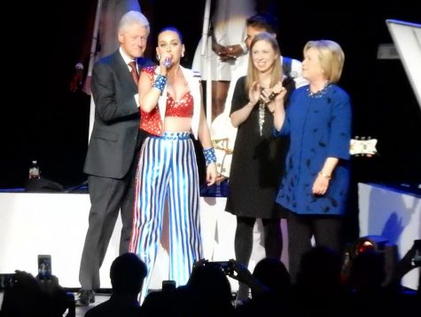 Katy Perry (2nd from left) speaking at a Hillary Clinton rally. The singer/songwriter hinted at a presidential run in 2020 on Instagram in 2018 in a picture with Bill Clinton and George W. Bush.