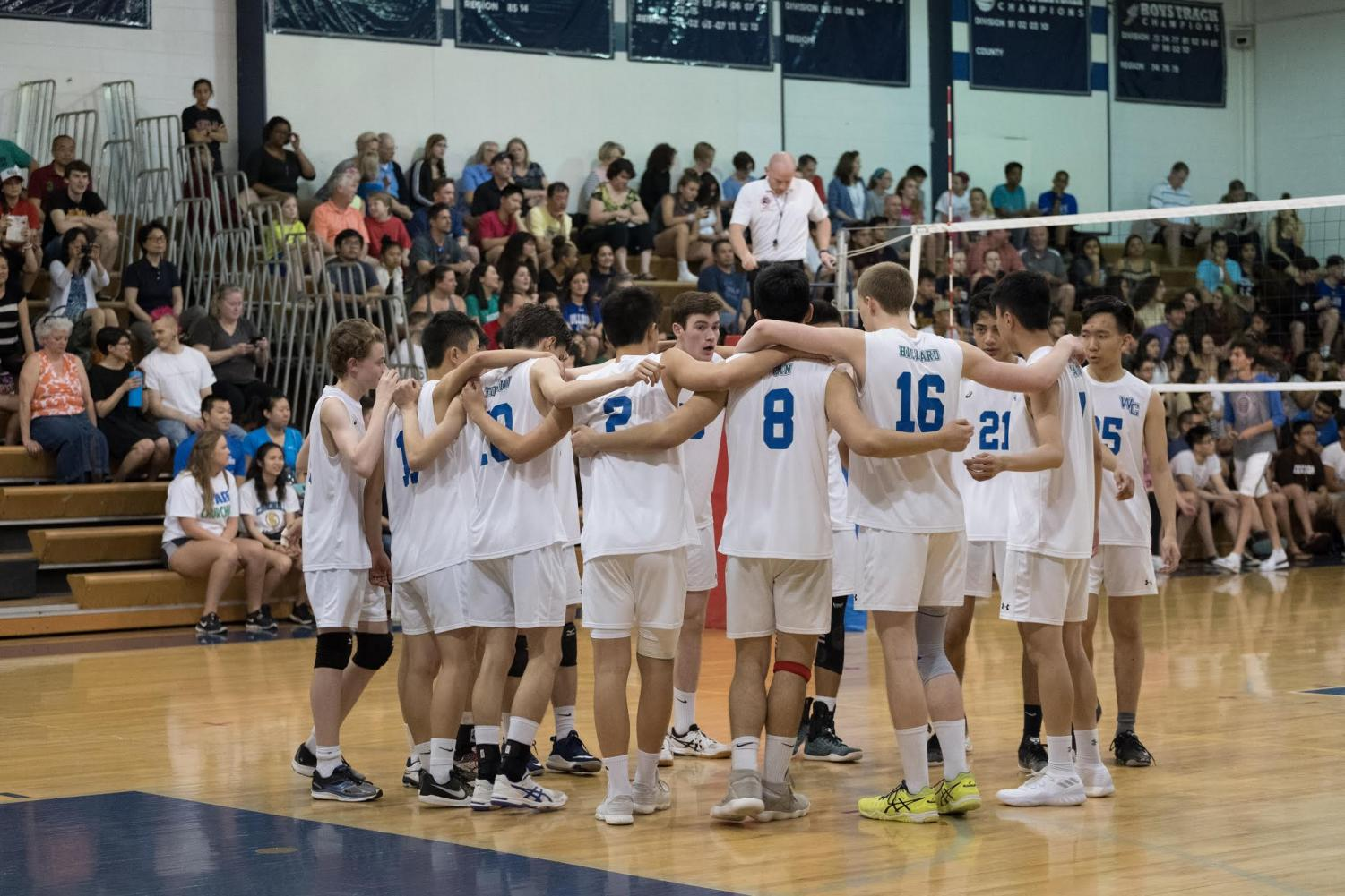 The boys volleyball team at county finals on May 15, 2018 against Walter Johnson. WCHS lost 3-1 last year but hope to defeat them in the championship this year.