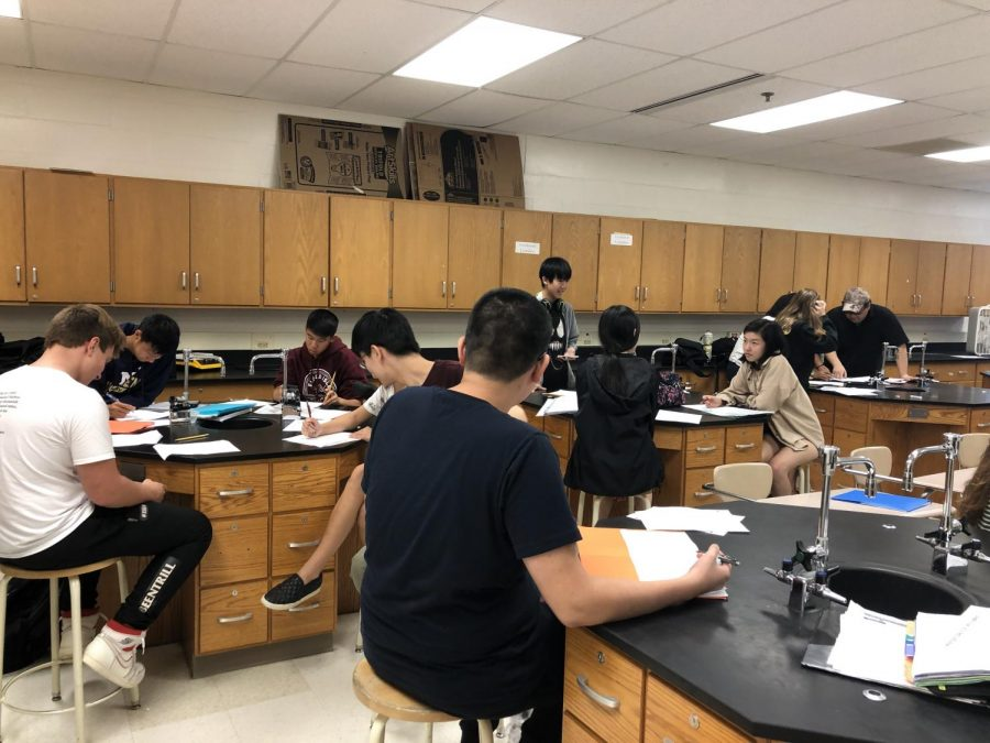Students in Mr. Lee's fourth period have an extremely large class. WIth over 36 students, the overcrowding in the class can greatly affect Lee's attention and ability to work with all of his students equal.