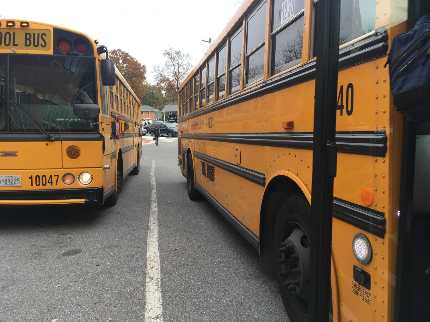 On any given morning, WCHS students come to school on buses. Buses would come later, if school start times are pushed back.