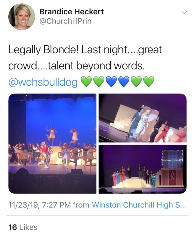 Ms.+Heckert+tweets+three+photos+of+the+WCHS+play%3A+%22Legally+Blonde.%22+Heckert+uses+Twitter+as+a+way+to+share+photos+of+achievements.