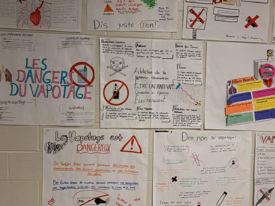 French+students+were+assigned+a+project+to+demonstrate+the+dangers+of+vaping+and+to+bring+attention+to+the+addictive+tendencies+it+can+cause.+