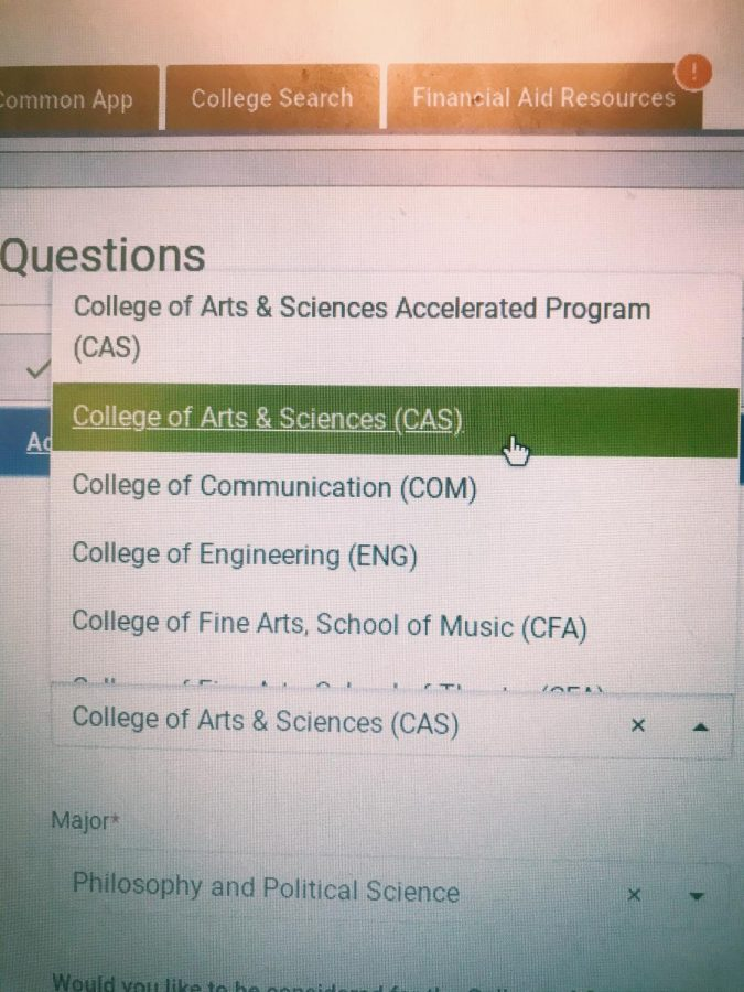 A student chooses which school to apply to from a dropdown on the Common Application. This will determine which majors they can take in the future.