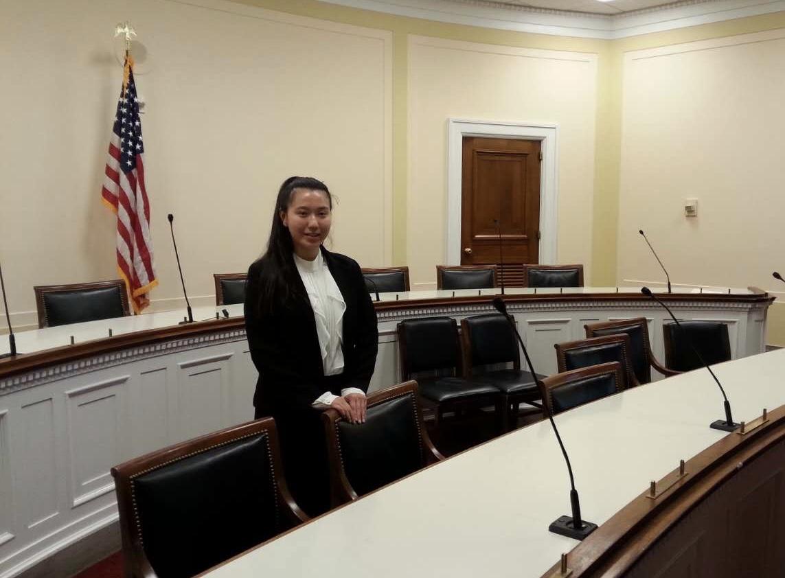 Ellen Zhang waits patiently to speak with congressmen Jamie Raskin regarding gun control in order to get his take on the issue.