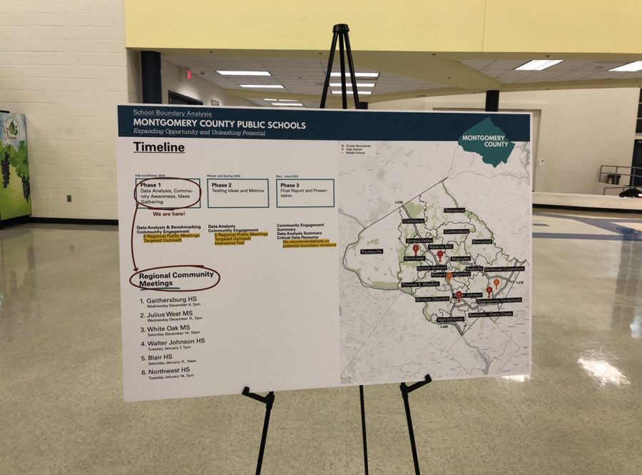 At the meeting, there were seven posters that explained different facts about MCPS districts and the timeline that was going to be followed. This poster explained the different phases as well as showed the other future meetings for audience members.
