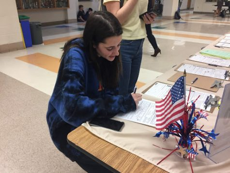Junior Liz Porter is registering to vote at WCHS during lunch. The Montgomery County Board of Elections registered students three days during lunch.