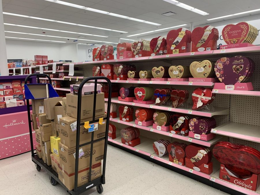 The Walgreens in Potomac Woods Plaza has begun stocking the iconic chocolate heart boxes of Valentine's Day. Most of this chocolate will not be bought or eaten, and as displayed by the pile of boxes on the cart, creates waste. The quantity of candy available in early January also prompts thought on the fossil fuels necessary to make all of these products and transport all of them to thousands of stores throughout the country.