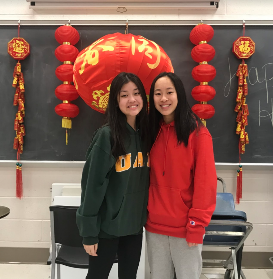 Sophomores+Jessica+Qiu+and+Serena+Shi+enjoy+attending+the+Lunar+New+Year+event+in+Room+126+on+Jan.+31%2C+2020.