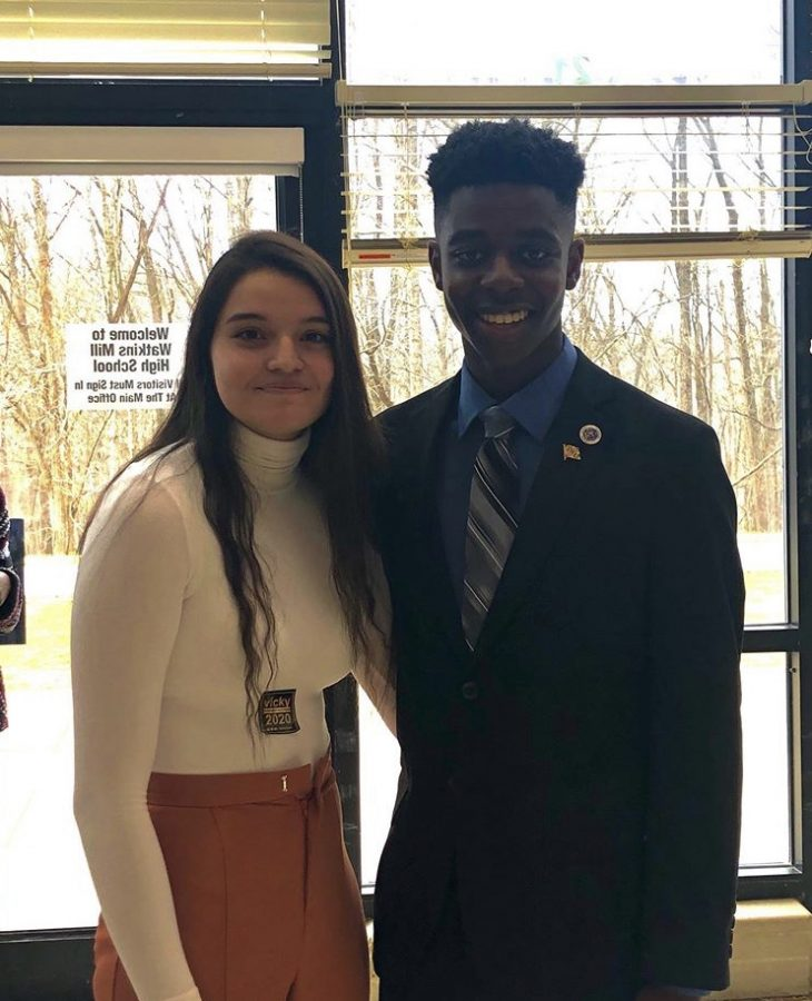 The final two candidates Vicky Kidder (left) and Nick Asante (right) pose after hearing their nomination for the SMOB general election. The pair are the final two who students will vote on for the position.