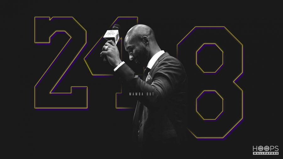 A+hoops+poster+of+the+basketball+star+Kobe+Bryant+with+both+of+his+jersey+numbers%2C+eight+and+24.