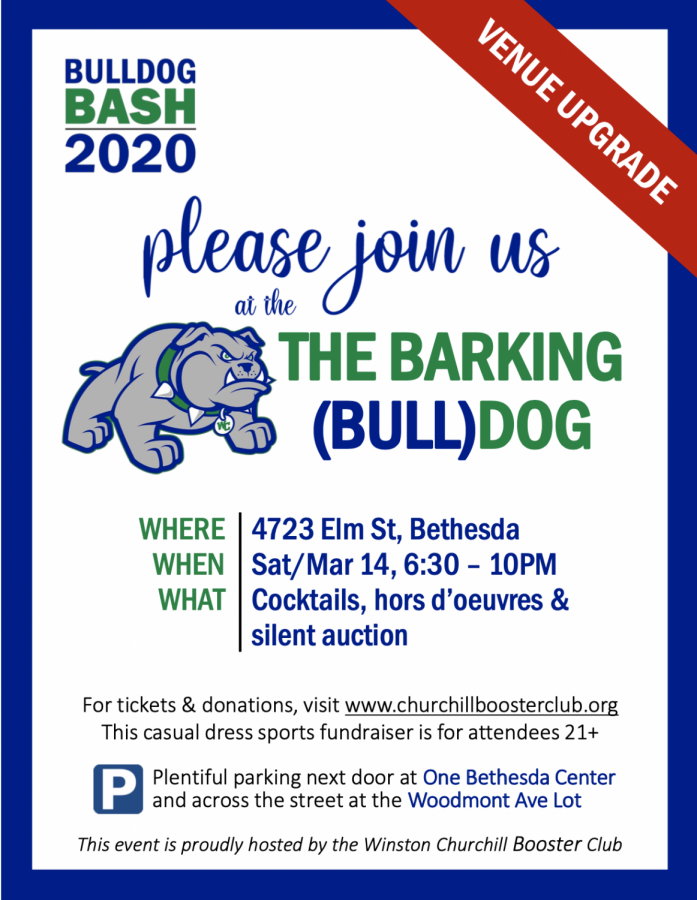 The invitation for the Bulldog Bash event provided by the WCHS Booster Club. For more information and purchasing tickets, visit the Booster Club website.