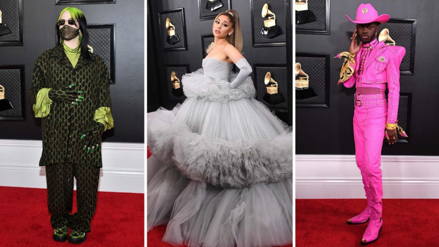 The+2020+Grammys+outfits+of+Billie+Eilish+%28left%29+wearing+a+green+glittery+suit+with+a+mesh+mask%2C+Arianna+Grande+%28middle%29+wearing+a+puffy+grey+dress+and+long+grey+gloves%2C+and+Lil+Nas+X+with+a+neon+pink+cropped+suit+with+studs.