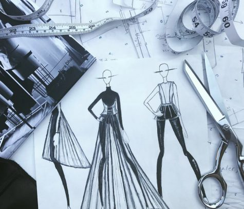One part of Nura Dhar's fashion design process is sketching out possible designs for collections.