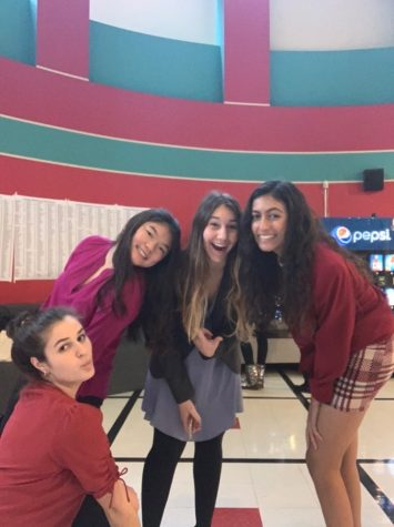 Two teams from WCHS's DECA club pose for a self timed photo at this year's Maryland statewide event held on Feb. 28th. Farah Baloghlanova (left), Claire Kim (left center), Olivia Meshanko (right center), and Maanika Gupta (right) all made the trip to Baltimore for the event.