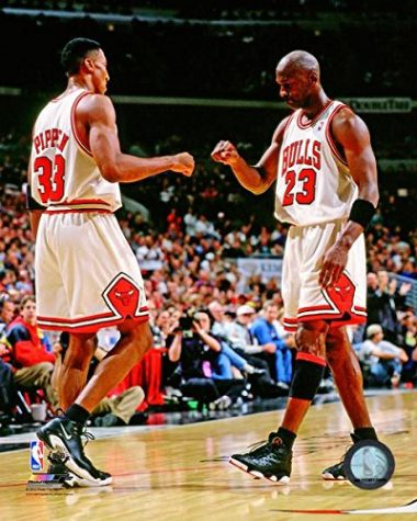 "Scottie Pippen (left) and Michael Jordan (right) both appeared in the documentary ""The Last Dance"" on ESPN. The documentary followed Michael Jordan playing his final season with the Chicago Bulls, as well as displayed flashbacks of when he first started on the team."
