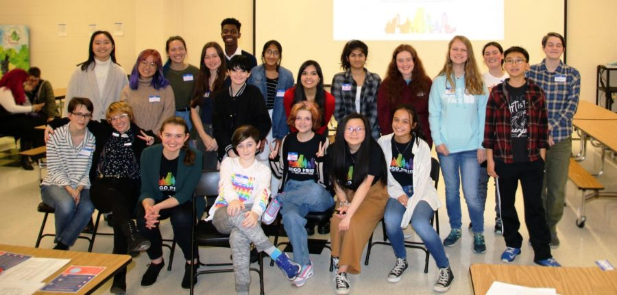 The student members of MoCo Pride pose for a group picture. They have been working hard all year to create the country's first high school LGBTQ+ Studies curriculum.