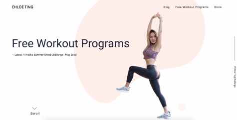Fitness youtuber Chloe Ting is notorious for her free workout programs. All of her workouts and programs are on her website for anyone to follow.