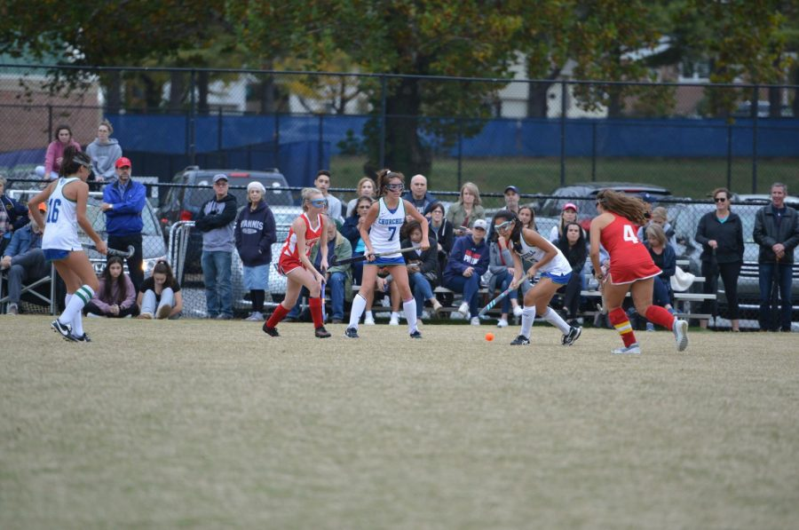 Katherine Yi and her varsity field hockey teammates play against the Wootton team during the 2019 fall season. Unlike previous years, the virtual fall season in MCPS does not allow for in person practices and games.