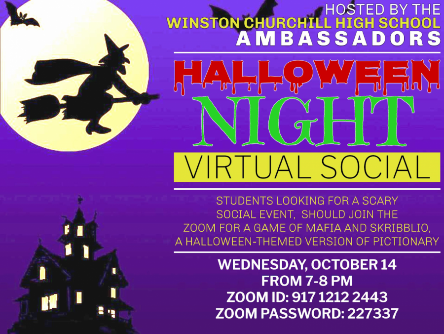 The WCHS Ambassadors have been creating graphics to advertise their virtual socials. This particular graphic advertised for the Halloween themed social on October 14th, which involved a game of Mafia and Skribbl.io.