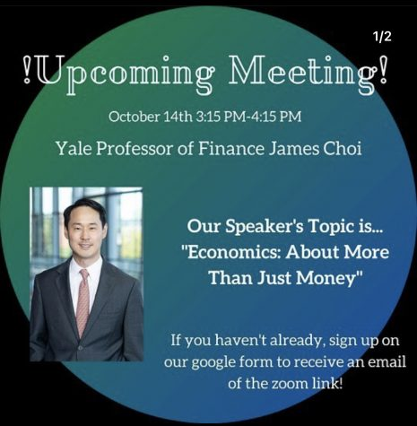 Instagram graphic advertising the VIBE club's October speaker, James Choi.