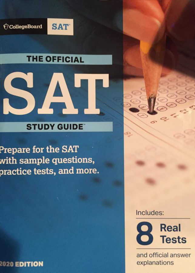 A copy of the official SAT study guide for 2020. Seniors in Montgomery County, Md. can take the test for free in November and December.