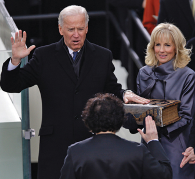 Joe Biden gets inaugurated in 2008. This is the second time that Joe Biden will be sworn into power.