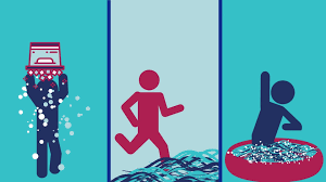 A graphic from CCAN's plunge website displays the three suggested ways that plungers can participate at home or locally: doing an ice bucket challenge, running into a local body of water like a creek, or jumping into a kiddie pool or bath tub at home.