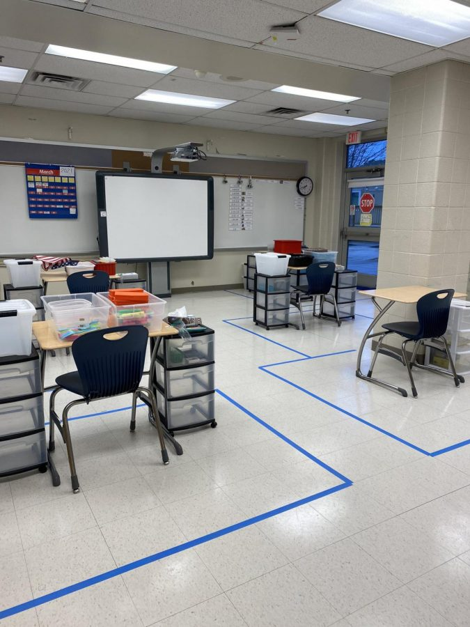 An empty classroom at WCHS is prepped for students to return. WCHS, like all Montgomery County Public Schools, has been closed since Mar. 13, 2020, but plans to start returning students in phases.
