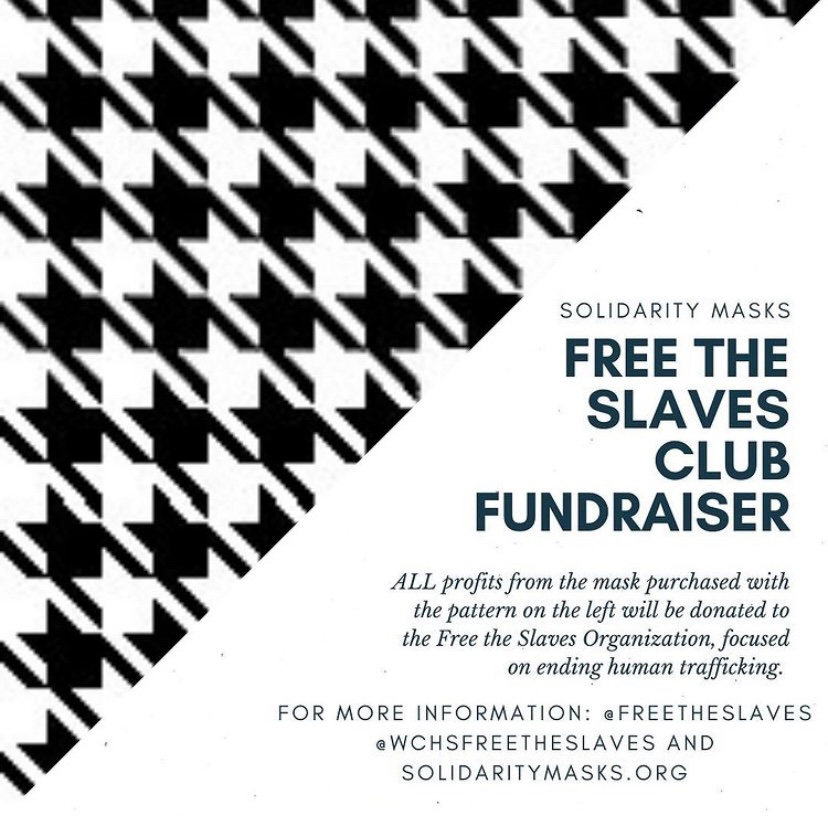 An infographic posted by the Free the Slaves Club Instagram advertsing their partnership with Solidarity Masks and displaying the houndstooth pattern of the Free the Slaves masks.