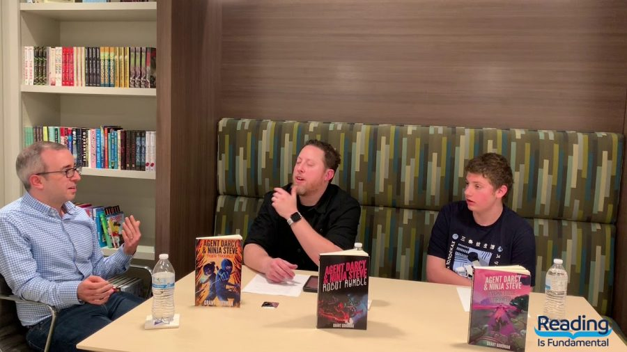 In D.C., Mr. Grant Goodman, left, in a Reading is Fundamental Interview about his series, Agent Darcy and Ninja Steve, in 2019. Series is avaliable on Amazon or https://www.grantgoodmanbooks.com/.